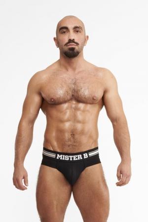 Slip Urban Amsterdam noir - Mister B : Brief (slip) noir top confort avec  système Push up sur le devant pour mettre en valeur vos attributs masculins.