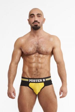 Slip Urban Amsterdam jaune - Mister B : Brief (slip) jaune top confort avec  système Push up sur le devant pour mettre en valeur vos attributs masculins.