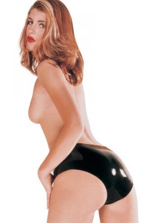 Culotte latex femme - noir : Slip classique pour femmes en latex naturel noir.