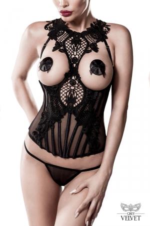 Bustier seins nus et string - Grey Velvet : Bustier à armatures seins nus, surpiqué d'une sublime dentelle qui s'épanouit en tour de cou.