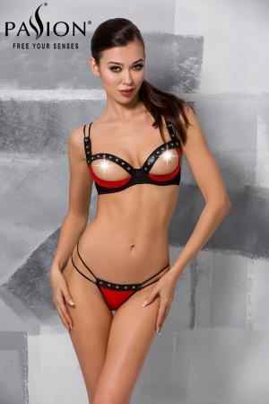 Ensemble seins-nus Midori : Ensemble soutien-gorge ouvert demi-sein et string rouge et noir, décoré de rivets.