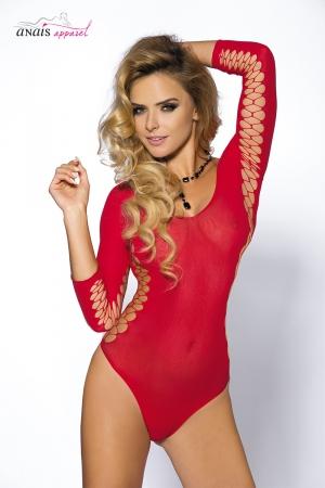 Body sexy rouge Muriel - Anaïs : Body sexy en maille rouge extensible, ouverte en croisillons sur les cotés et l'intérieur des manches.
