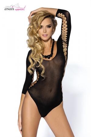 Body sexy noir Muriel - Anaïs : Body sexy en maille noire extensible, ouverte en croisillons sur les cotés et l'intérieur des manches.