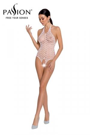 Body résille ouvert BS087 - Blanc : Body ouvert en résille blanche très sexy de la marque Passion.