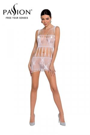 Robe nue résille BS090 - Blanc : Robe en résille blanche motif papillon de la marque Passion.